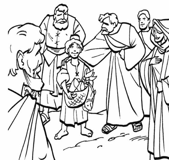 Loaves and fishes coloring page education pinterest for Loaves and fishes bible story