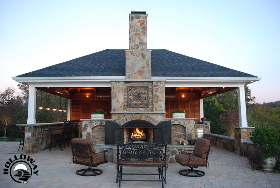 Outdoor Fireplace See Through Outdoor Full Masonry Fireplace With Iron Doors Screens