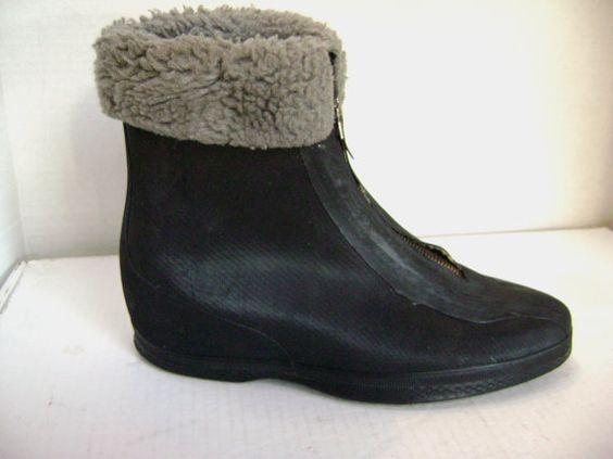 Vintage Granny Go Go Galoshes  black boots rubber by junquegypsy, $38.20