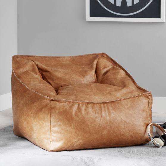Vegan Leather Caramel Modern Lounger | Pottery Barn Teen