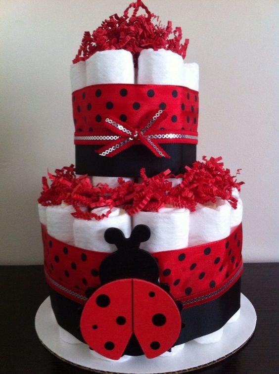 2 Tier Mini Ladybug Diaper Cake Lady Bug by BabeeCakesBoutique, $25.00