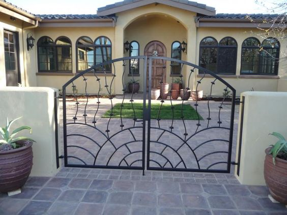 Gate Design Ideas driveway gate designs by canterbury steel works Exterior Interesting Swing Gate Design Ideas With Black Color And Black Semi Circle Accent Featuring