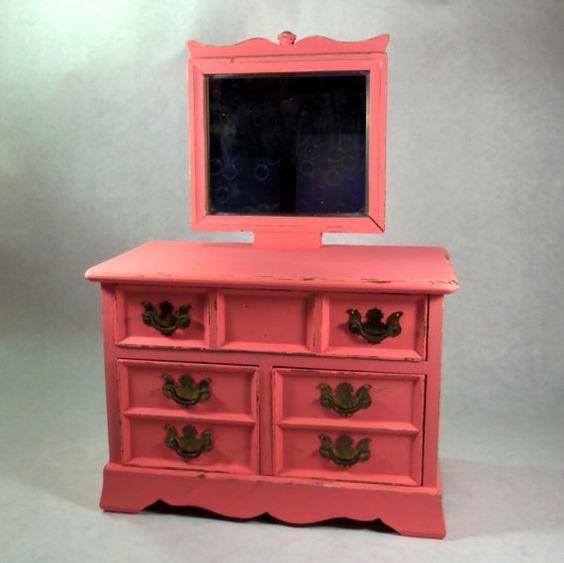 Jewelry Box  Coral Peach  Chest of Drawers  Trinket Box by poelia