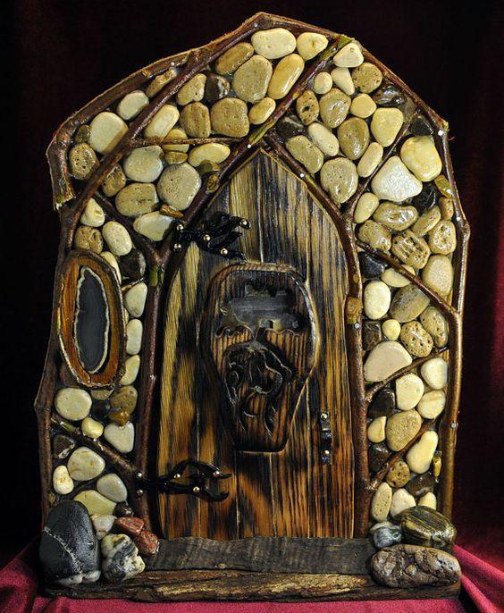 Led fairy doors and window on pinterest for Wooden elf door