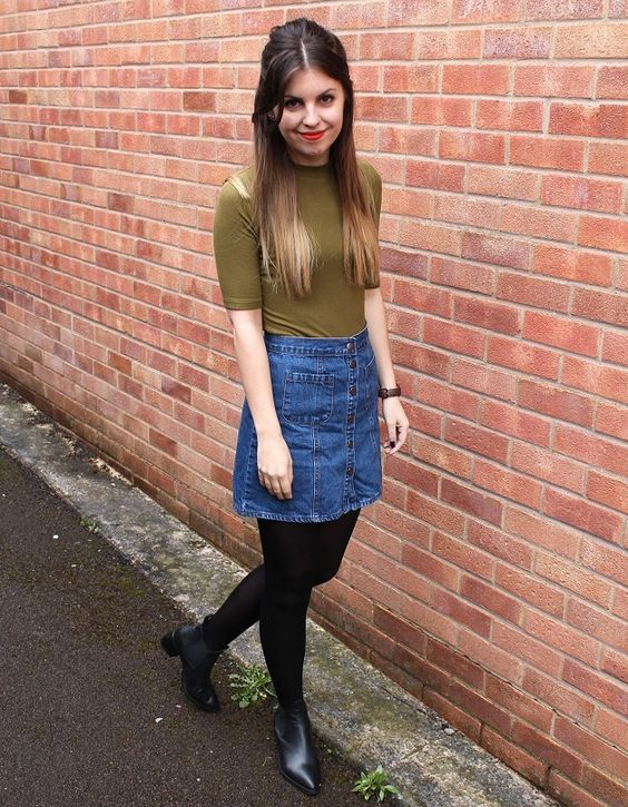 denim skirts how to wear and fall winter on