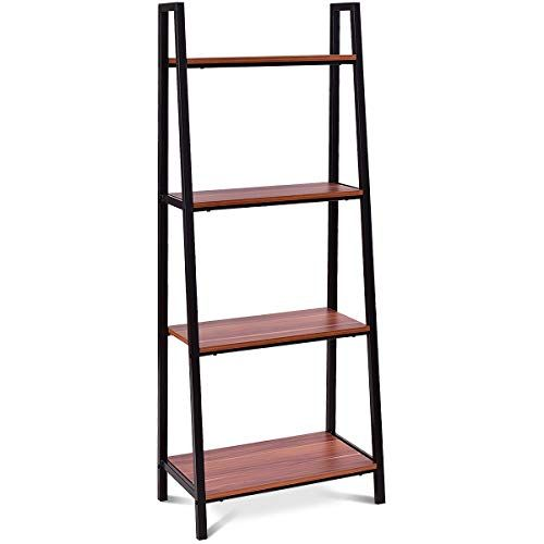Goflame Ladder Shelf 4 Tier Bookcase Bookshelf Storage Rack