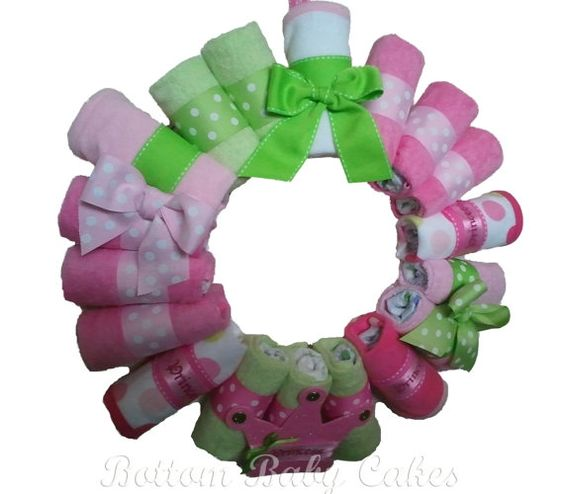 Wreath with diapers and washcloths