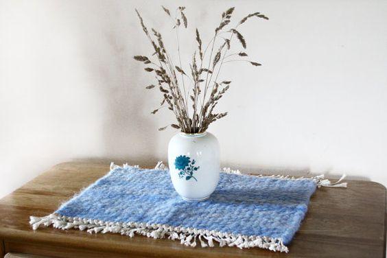 Unique small handwoven Welsh wool rug in by WeathertopWoolWorks. £40.00 GBP, via Etsy.