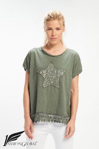 Camiseta estrella verde militar