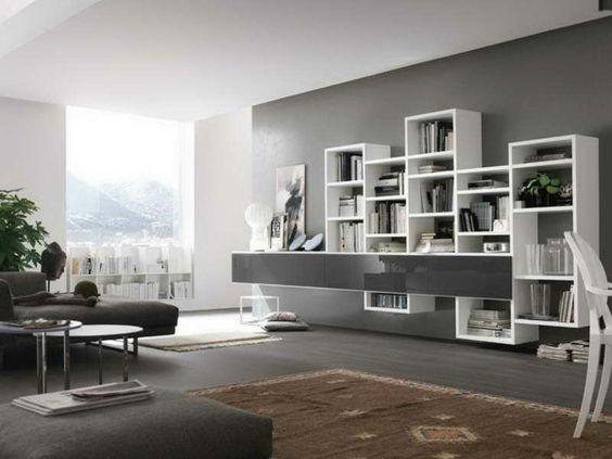 Wandfarbe Grautöne farbgestaltung modern regale Designideen - moderne farbgestaltung wohnzimmer