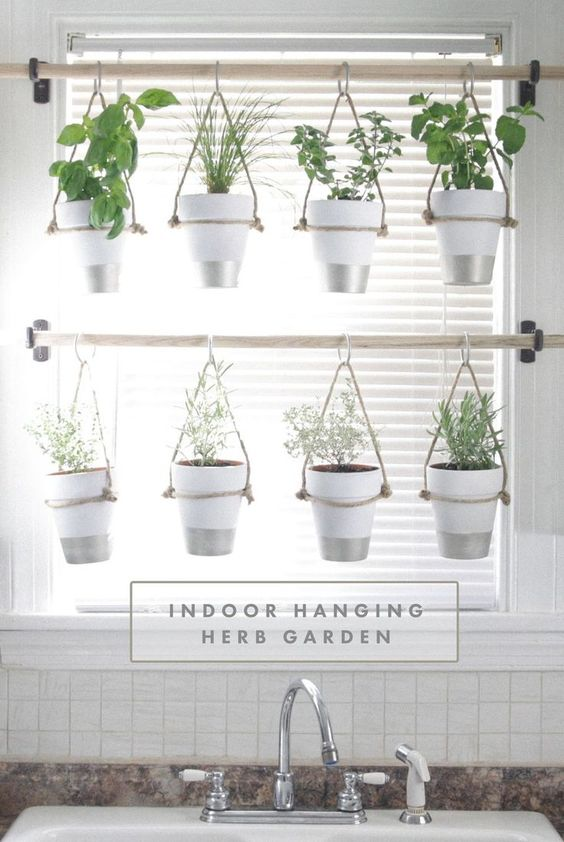 DIY Indoor Hanging Herb Garden // Learn how to make an easy, budget-friendly hanging herb garden for your window. It will make your house prettier and fill your gardening void during winter months. #diy_kitchen_garden