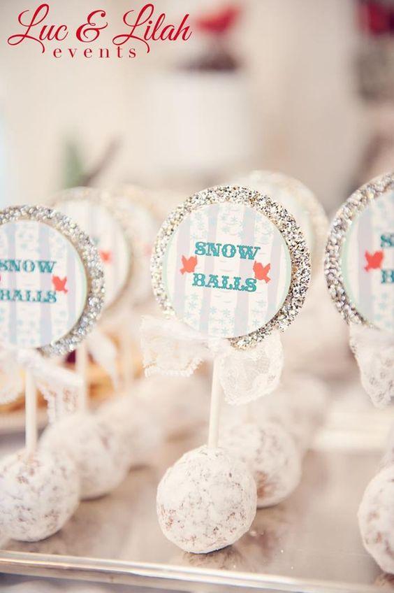 Doughnut hole snow balls! So cute! Birch wood and Birdies Winter Wonderland Party with Such Cute Ideas via KarasPartyIdeas.com