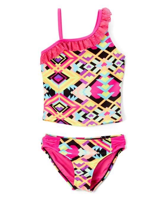 Hot Pink Geometric Lace-Accent Tankini - Girls