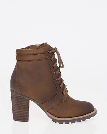 Nubuck Leather-Like Round Toe Bootie