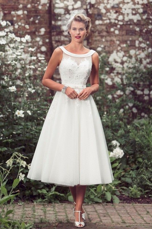 Tea Length Wedding Dress. Click here to see the full line Brighton Belle by True Bride – Tea Length Wedding Dress http://www.mydreamlines.com/2016/05/tea-length-wedding-dress/ #weddingdress #tealengthweddingdress #shortweddingdress
