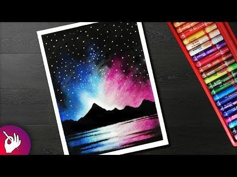 How To Draw Night Sky Mountain Scenery Drawing For Beginners With Oil Pastels Youtube Oil Pastel Art Oil Pastel Drawings Oil Pastel