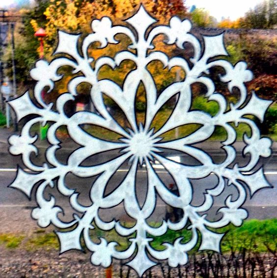 dtails sur wicoart window color sticker static cling noel christmas blanc etoile baroque - Windows Color Noel