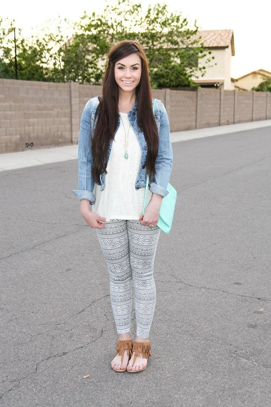 Jean jacket, tribal leggings, grey, fringe sandals, mint purse, Bellami extensions