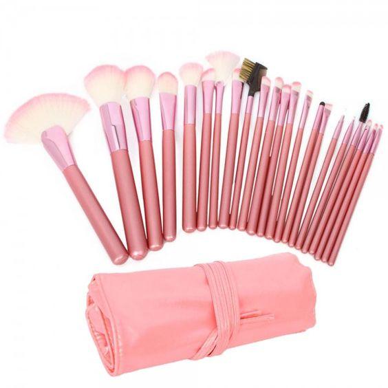 22pcs  Cosmetic Makeup Brush Set with Bag Pink 22PCS #makeupbrush #brushes #makeup