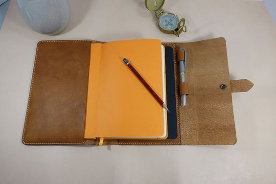 Leuchtturm A5 Notebook Cover  Journal in Tan Leather, pen loop