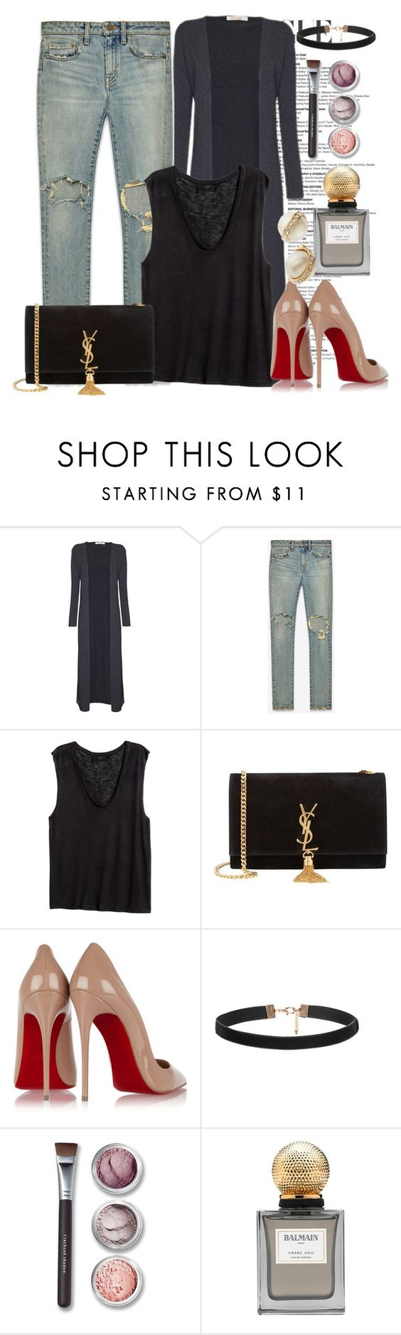 """""""Untitled #1701"""" by ekozlova ❤ liked on Polyvore featuring Yves Saint Laurent, H&M, Christian Louboutin, Bare Escentuals, Balmain, Kate Spade, women's clothing, women, female and woman"""