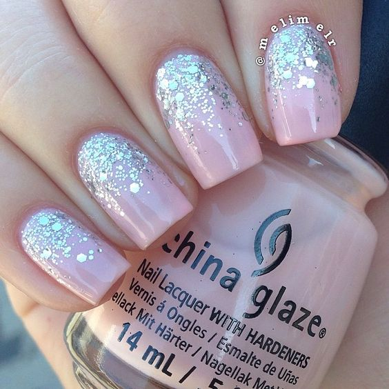#Manimonday Reverse glitter gradient today! I just love this look always!I used China Glaze 'Diva Bride' such a perfect sheer pink. For the glitter I used Sinful Colors 'Queen of Beauty' and Essie 'Set in Stones'