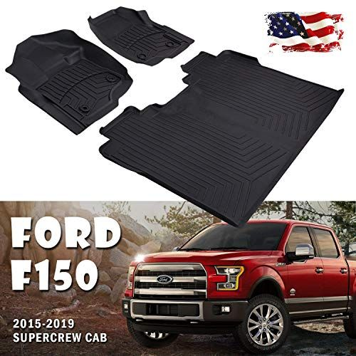 Floor Mats 4xbeam F150 Liners Super Crew Cab Compatible For 2015 2018 Ford F150 All Weather Guard Includes 1st 2nd Front Row And Rear Floor Liner Full Set Ford F150