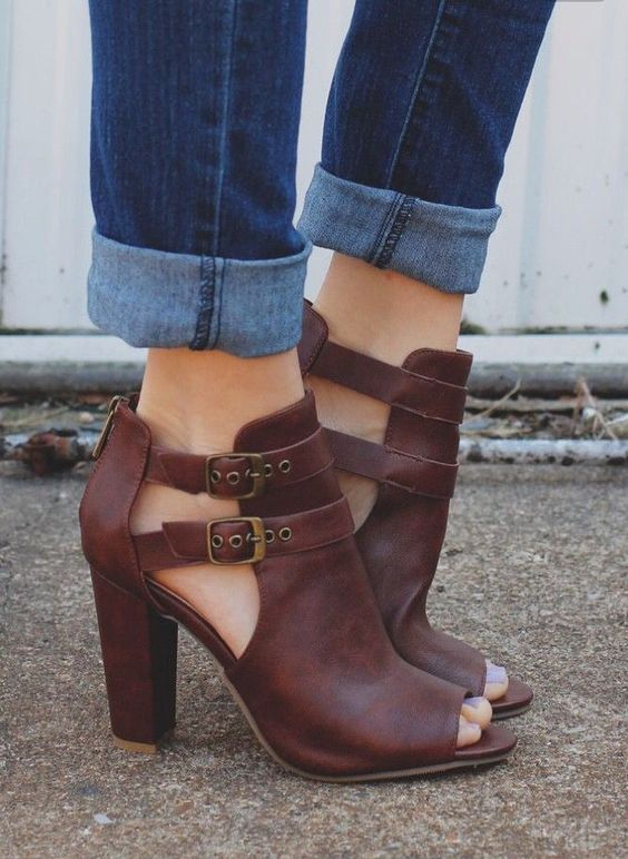 **** Get your first Stitch Fix delivered today and start receiving great shoes just like these!  Loving these awesome stacked heel, peep toe buckle mules!!  Love the dark brown color.  Can be worn Spring thru Fall.  Stitch Fix Spring, Stitch Fix Summer, Stitch Fix Fall 2016 2017. Stitch Fix Spring Summer Fall Fashion. #StitchFix #Affiliate #StitchFixInfluencer