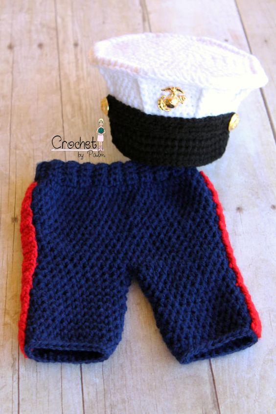 Crochet Baby Marine Hat Pattern : Original Design Crochet Marine Corps Blues Cover and ...