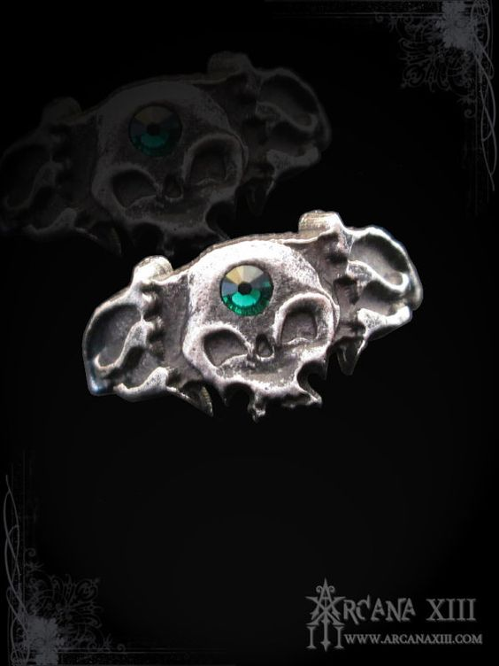 handmade skull ring Noctavius by ArcanaXIII on Etsy, $20.00