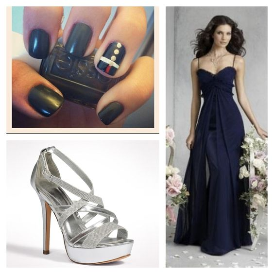 marine navy blue formal dress with a pair of pretty