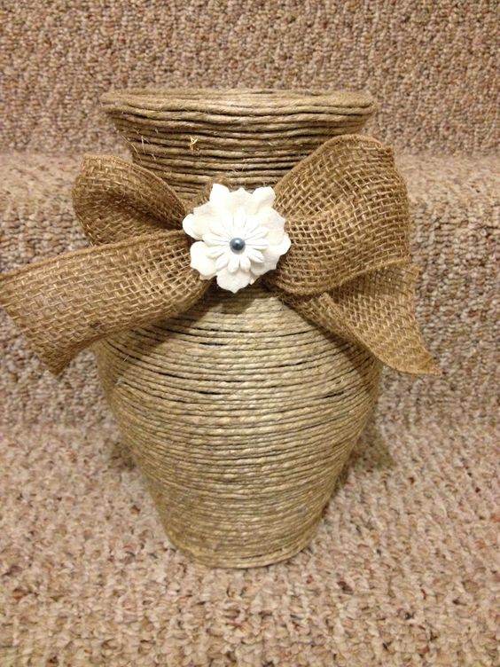 Twine vase twine and vase on pinterest for Burlap ribbon craft ideas