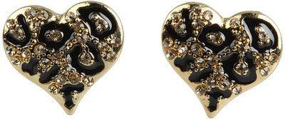 GUESS Guess Gone Wild Leopard Heart Stud Earrings