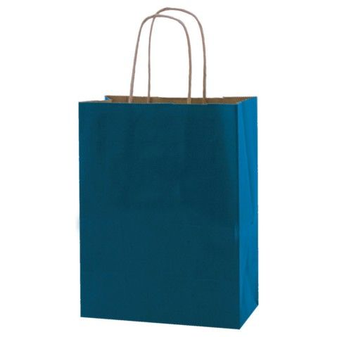 "A great blue paper bag! Paper Bag Pacific Blue 8""x10""x4¾"" 250pk"