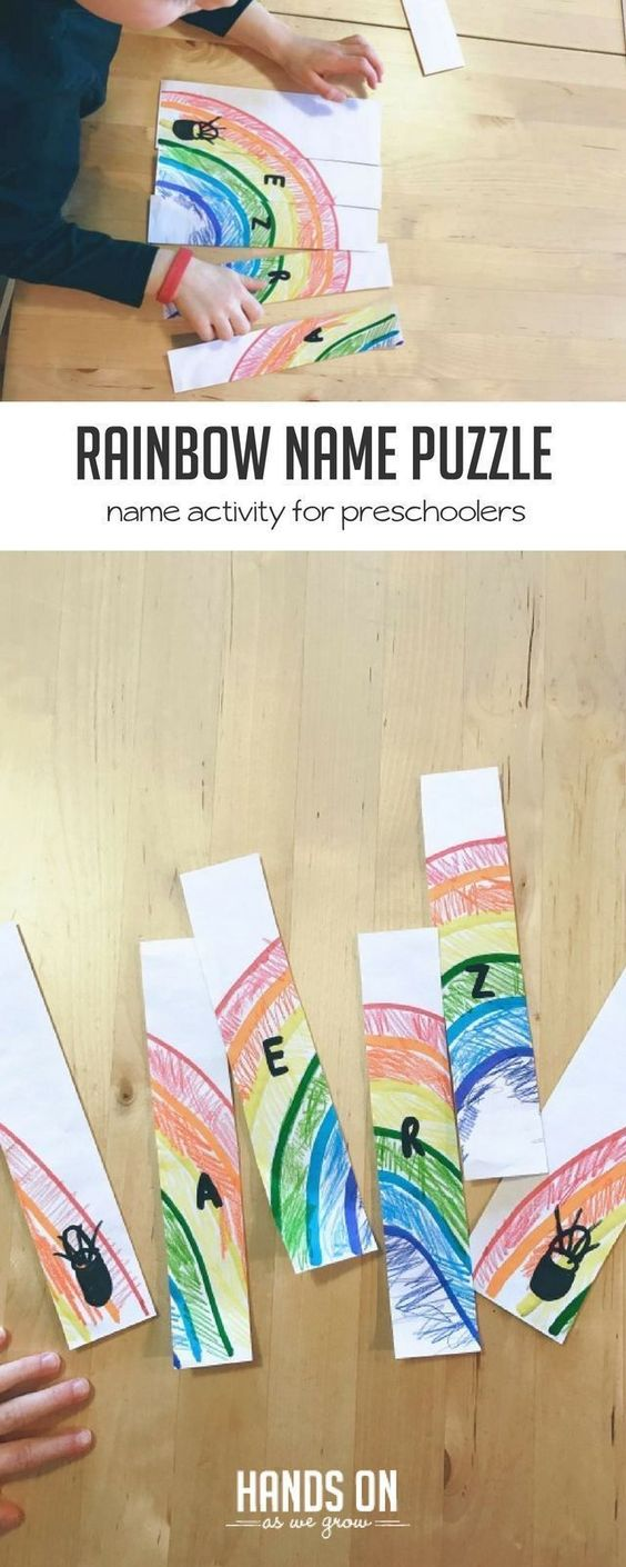 Create your own popsicle stick rainbow puzzle - a great name spelling activity for preschoolers! via @handsonaswegrow