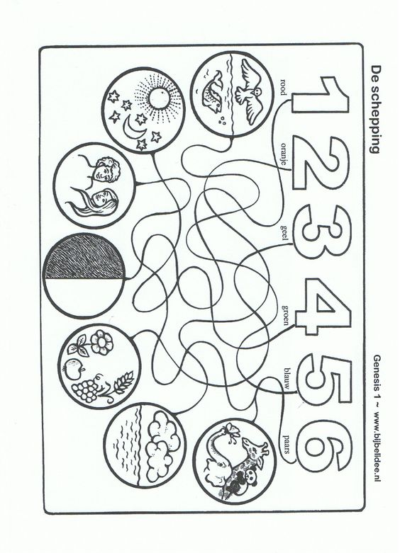 Follow the line days of creation days of creation for Coloring pages of creation