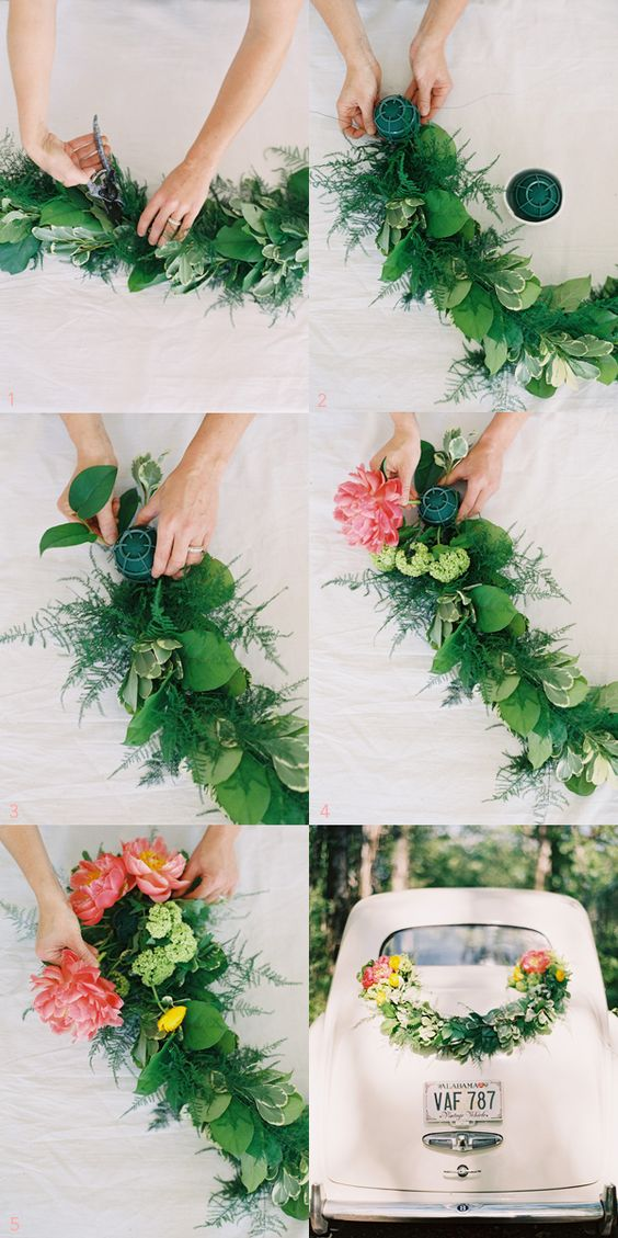 DIY Wedding Getaway Garland by Rosegolden Flowers via Once Wed, photos by Odalys Mendez  #diy #garland: