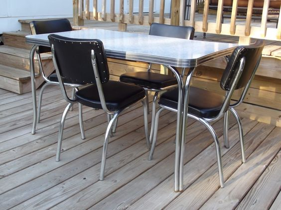 "Vintage Retro 1950s ""Kuehne"" Dining Kitchen Formica Chrome Table 4 Chairs Eames 