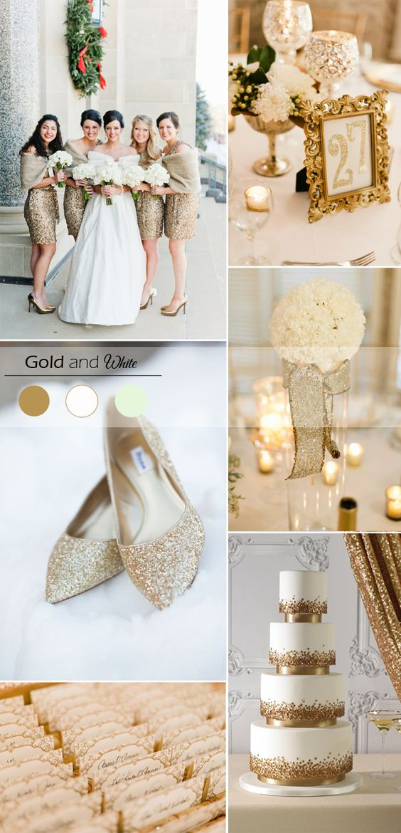 gold ivory and white wedding color inspiration for winter weddings 2015