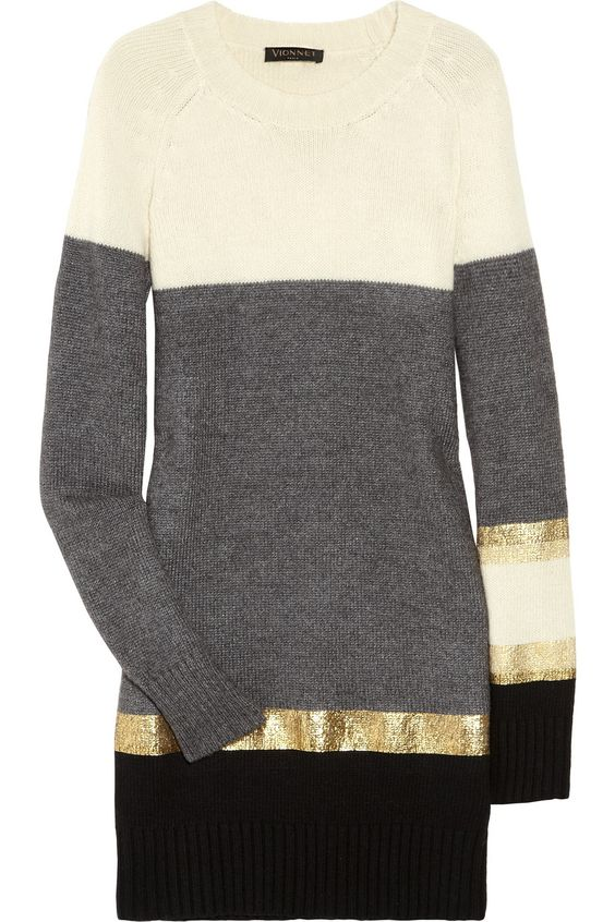 Striped knitted sweater dress by Vionnet