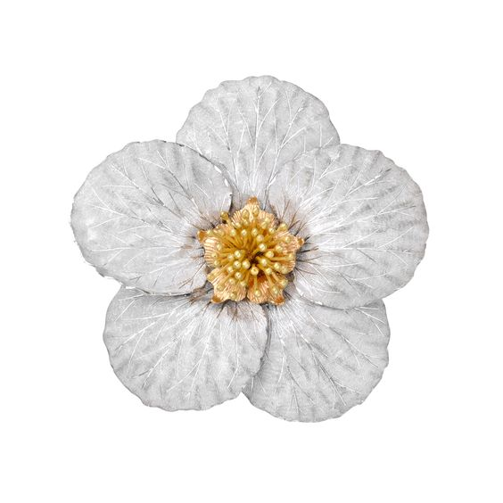 Magnolia flower brooch, composed of textured, 18k white gold petals, surrounding 18k yellow and rose gold pistil and stamen. Handmade in Italy by Buccellati. Dimensions at widest points: 45 x 45mm.