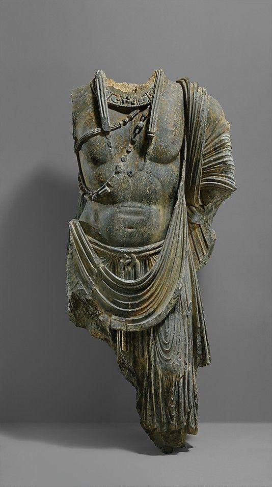 Torso of a Bodhisattva  Probably Sahri-Bahlol Workshop, ca. 5th century, Pakistan (ancient region of Gandhara, mondern Peshawar region)  Schist