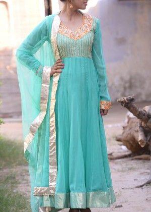 Sky Blue Georgette Suit #Shop #Now #Anarkali #Suits #By #Vasansi #Jaipur