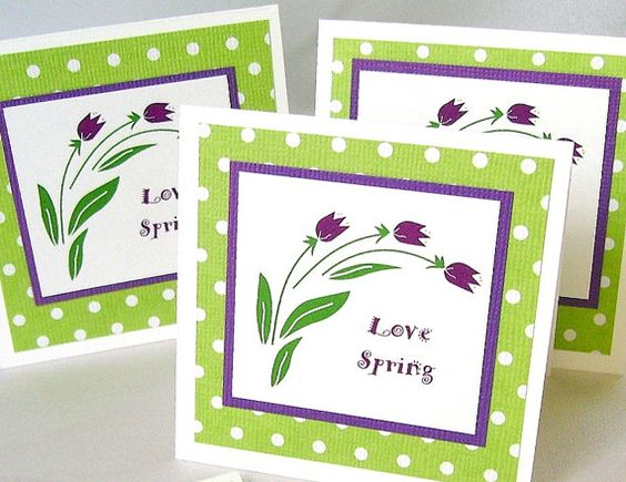 Small springtime note cards Floral notecards by designedbymarylou