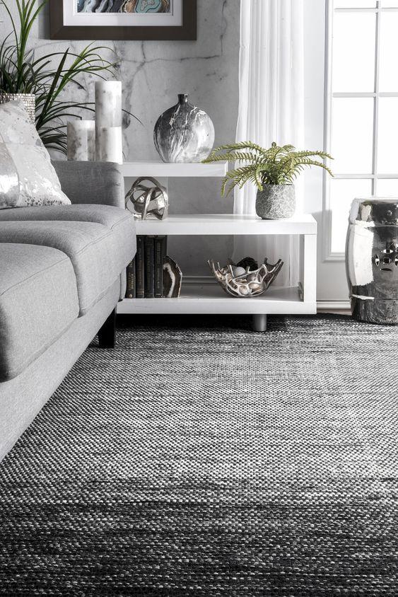 Flatweave Ombre Desantis Rug - Color: Black, White; Size: 5' x 8'
