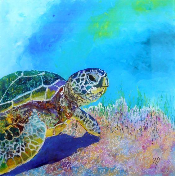 Sea turtles kauai and acrylic paintings on pinterest for Turtle fish paint