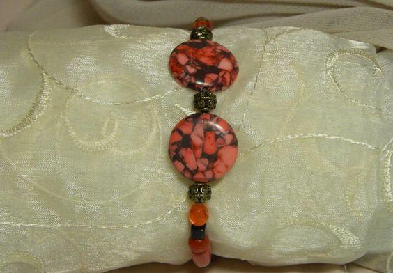 Pink Orange and Black Bracelet by Alisonsjewelryshop on Etsy, $5.98
