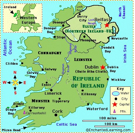 Simple Map Of Ireland | of ireland map quiz printout map coloring activity irish flag