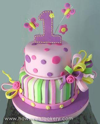 Violeta y verde cumplea os para ni as tarta pasteles - Cumpleanos para ninos de dos anos ...