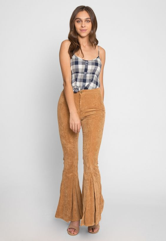 Redstone Corduroy Flare Pants in Camel - Wet Seal